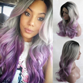 Ombre Grey Bodywave Synthetic Lace Front Wig Glueless Long Natural Black/Silver Grey/Purple Heat Resistant Hair Wigs New