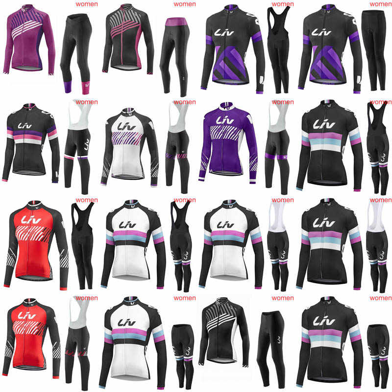 241304285 Liv 2018 Outdoor Sports Spring Summer Bike Bicycle Cycling long Sleeves  jersey bib pants sets MTB