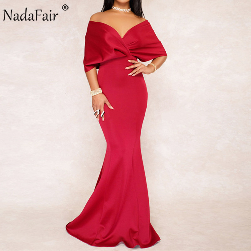 Nadafair Off Shoulder Trumpet Women <font><b>Sexy</b></font> Maxi Party Dress Summer Batwing Sleeve Bodycon Floor-Length Long Dress Vestidos image