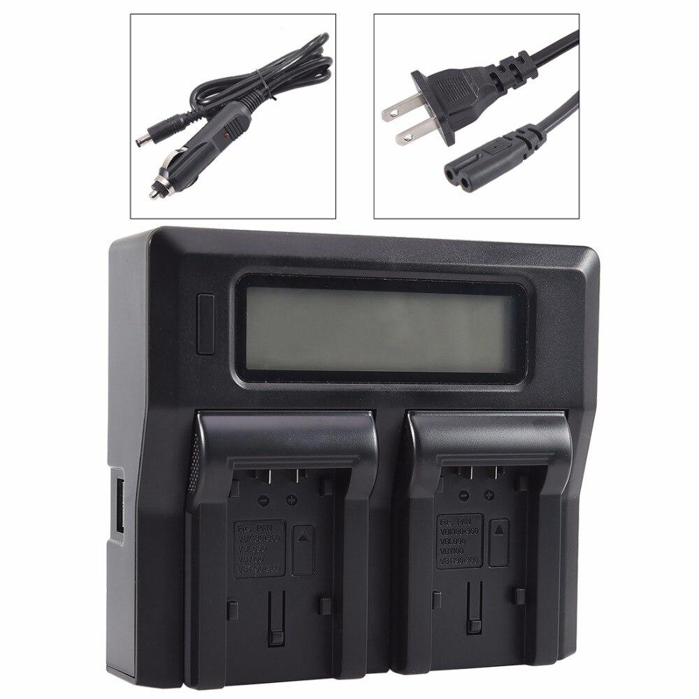 Dste LCD106A doble cargador de batería con puerto USB para Panasonic VBK180 VBK360 VBY100 VBT190 VBT380 VBL090
