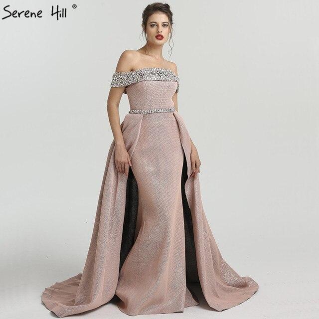 2018 DuBai Boat Neck Beading Luxury Evening Dresses Bling Designer ...