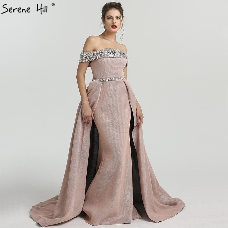 2019 DuBai Boat Neck Beading Luxury Evening Dresses Bling Designer Off  Shoulder Sexy Evening Gowns Real Photo LA6549 a0b95ffc6aaf