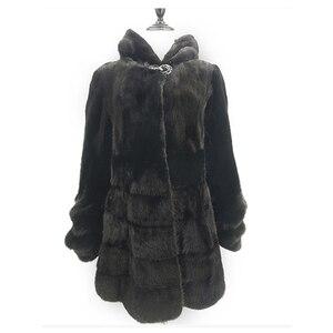 Роскошная Шуба из натуральной норки, куртка с капюшоном и тонким поясом, зимняя верхняя одежда из натурального меха для женщин размера плюс ...
