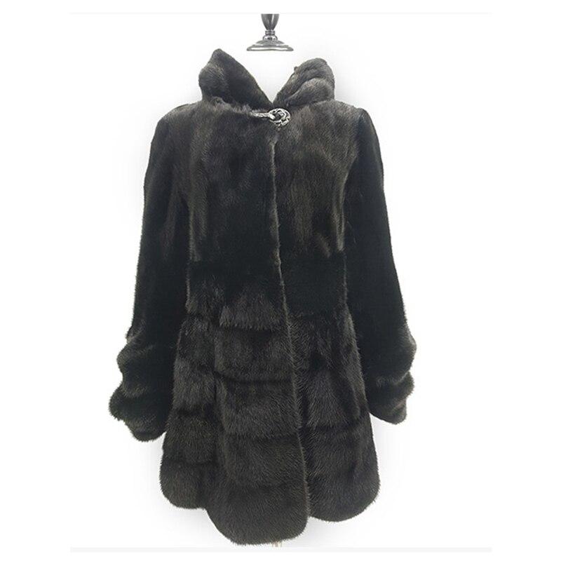 Chaqueta de abrigo de piel de visón auténtica de lujo con capucha delgada cinturón de invierno piel genuina de mujer prendas de abrigo talla grande 3XL 4XL 5XL LF5168