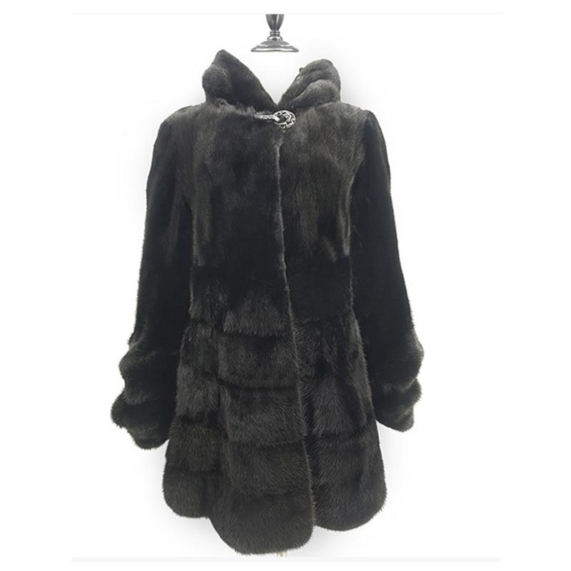 Luxury Genuine Mink Fur Coat Jacket with Hoody Slim Belt Winter Genuine Women Fur Outerwear Plus