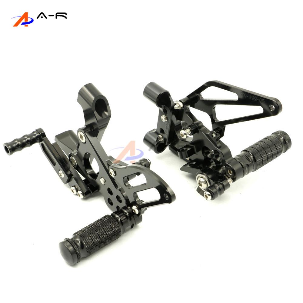 Black Motorcycle Racing CNC Adjustable Rearsets Footrest Foot Pegs Rear Sets for Ducati Panigale 1199 S/R 2012 2013 2014 Racers 8 color for ducati 999 949 749 748 916 996 998 cnc adjustable rearsets rear set motorcycle footrest hot high quality moto pedal