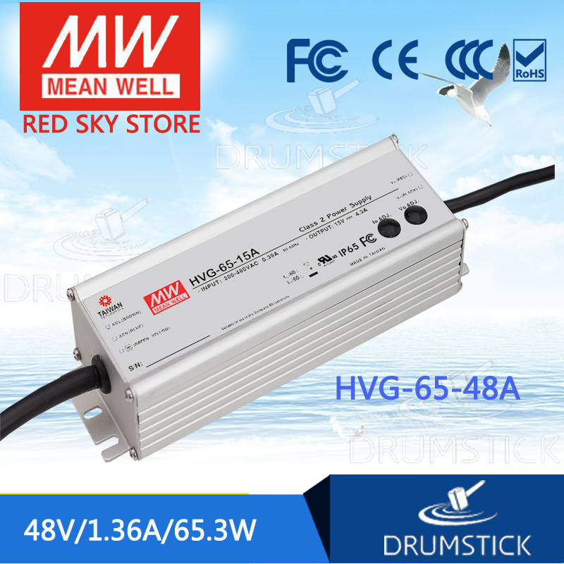 MEAN WELL HVG-65-48A 48V 1.36A meanwell HVG-65 48V 65.3W Single Output LED Driver Power Supply A type [powernex] mean well original hvg 65 54d 54v 1 21a meanwell hvg 65 54v 65 3w single output led driver power supply d type