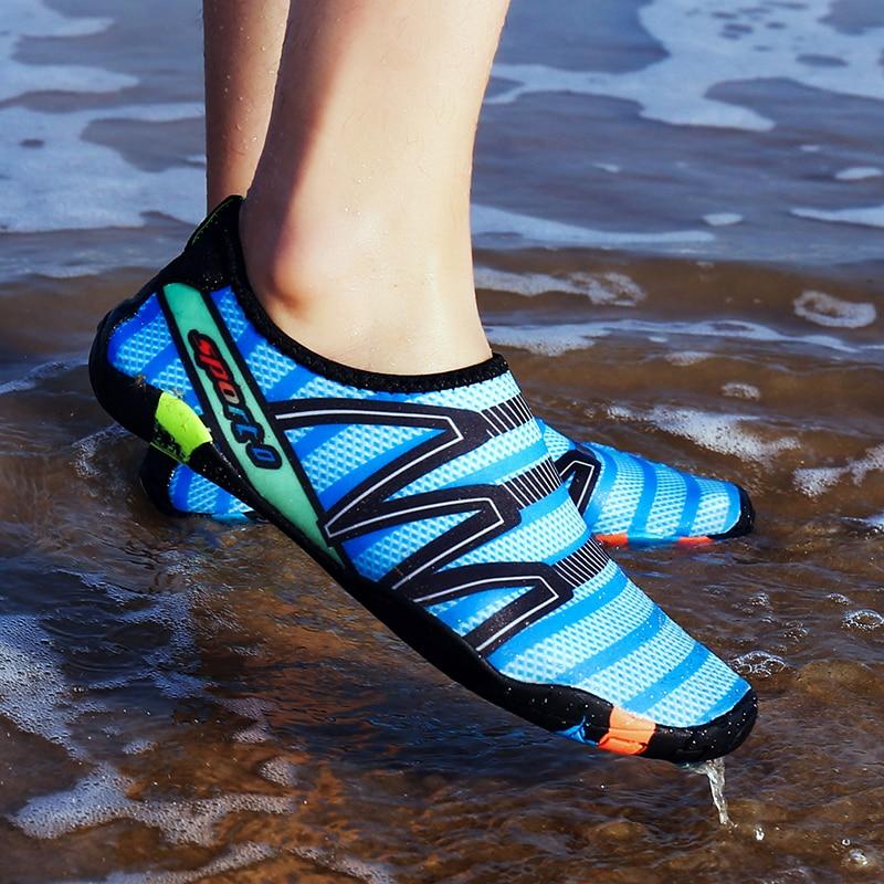 19 cor 35-47 Tamanho Amante Da Praia Sapatos de Água Dos Homens Ao Ar Livre A Montante Do Aqua Sapatos De Natação Mulheres Vadear Sapatos zapatos de agua mujer