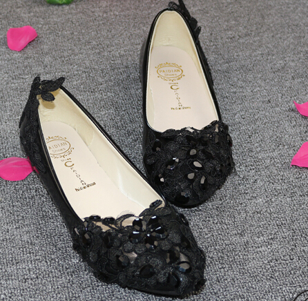 Black lace flats shoes for woman 100% handmade womens ladies party dance flats wedding flat heel shoes womens TG258