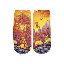 PLstar Cosmos Fashion Kawaii 3d Printed Cotton Socks Cute rick and morty Ankle Short for Cartoon Funny Women