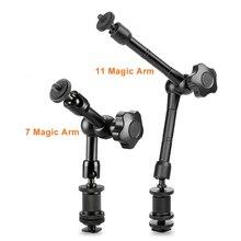 "7 ""/11"" articulating magic arm hdmi 모니터 장착 용 알루미늄 추가 led 라이트 lcd 비디오 카메라 플래시 삼각대 암 dslr"