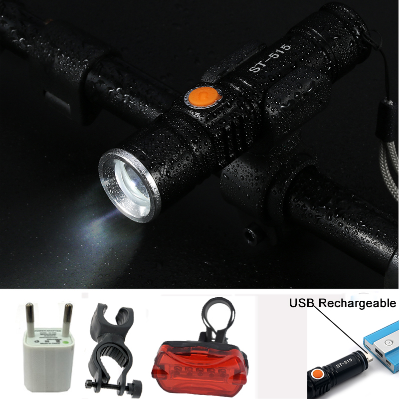 USB Flashlight CREE XML-T6 LED Bicycle Light Waterproof Built-in Battery Flash light Head Front cycling Bike Light+Bike mount 6000lumens bike bicycle light cree xml t6 led flashlight torch mount holder warning rear flash light