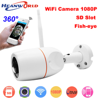 Heanworld Outdoor Fish eye Camera ip 1080P Wifi HD waterproof security bullet camera Wireless cam 360 degree ip camera Panoramic