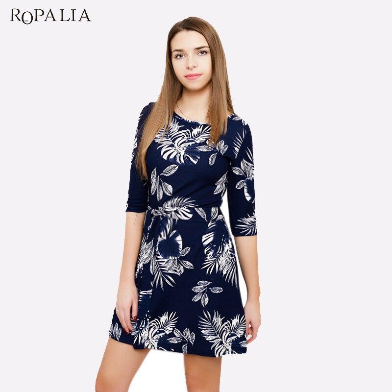 ROPALIA Винтаж Лето Для женщин Платье с цветочным принтом с короткими рукавами круглым вырезом Повседневное Bodycon платье женское