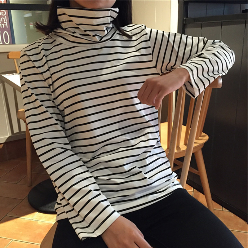 Black   white stripes Autumn Winter Sweater Women Thin bottoming shirt  Knitted Sweater Pullovers long sleeve High collar Korean-in Pullovers from  Women s ... 23b824344