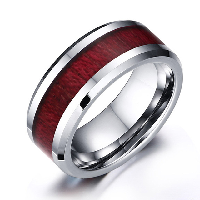 2017 new Very beautiful Silver color tungsten ring with red wood