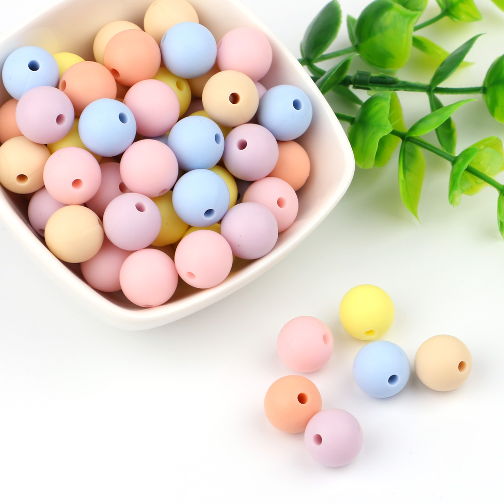 TYRY.HU 10pc 9mm Baby Chewable Food Grad Silicone Beads Baby Pacifier Bead BPA Free DIY Necklace Holder Accessories DIY Pendant