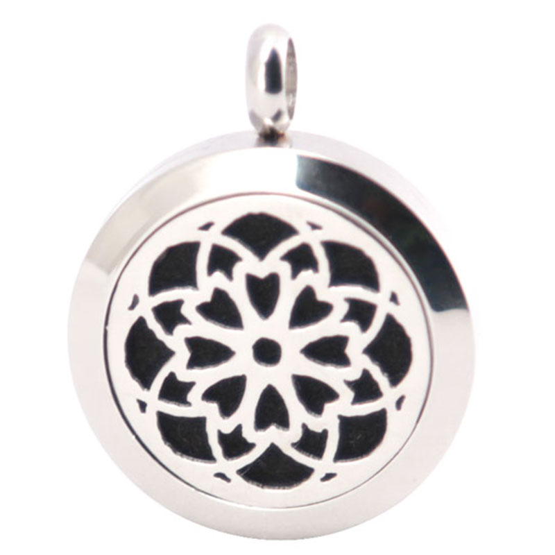 316L Stainless Steel Silver Sunflowers Necklace Pendant Aroma Essential Oil Diffuser Lockets Include 10pcs Felt Pads as Gift