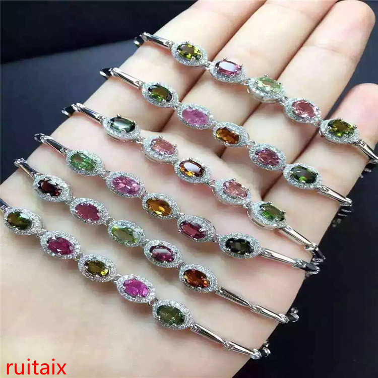 KJJEAXCMY fine jewelry S925 pure silver bracelet natural tourmaline elliptic 5 gem female hand chain wholesale jewelry free ship lanzyo natural tourmaline bracelets fine jewellery fashion hand string 4mm candy bracelet wholesale sc002