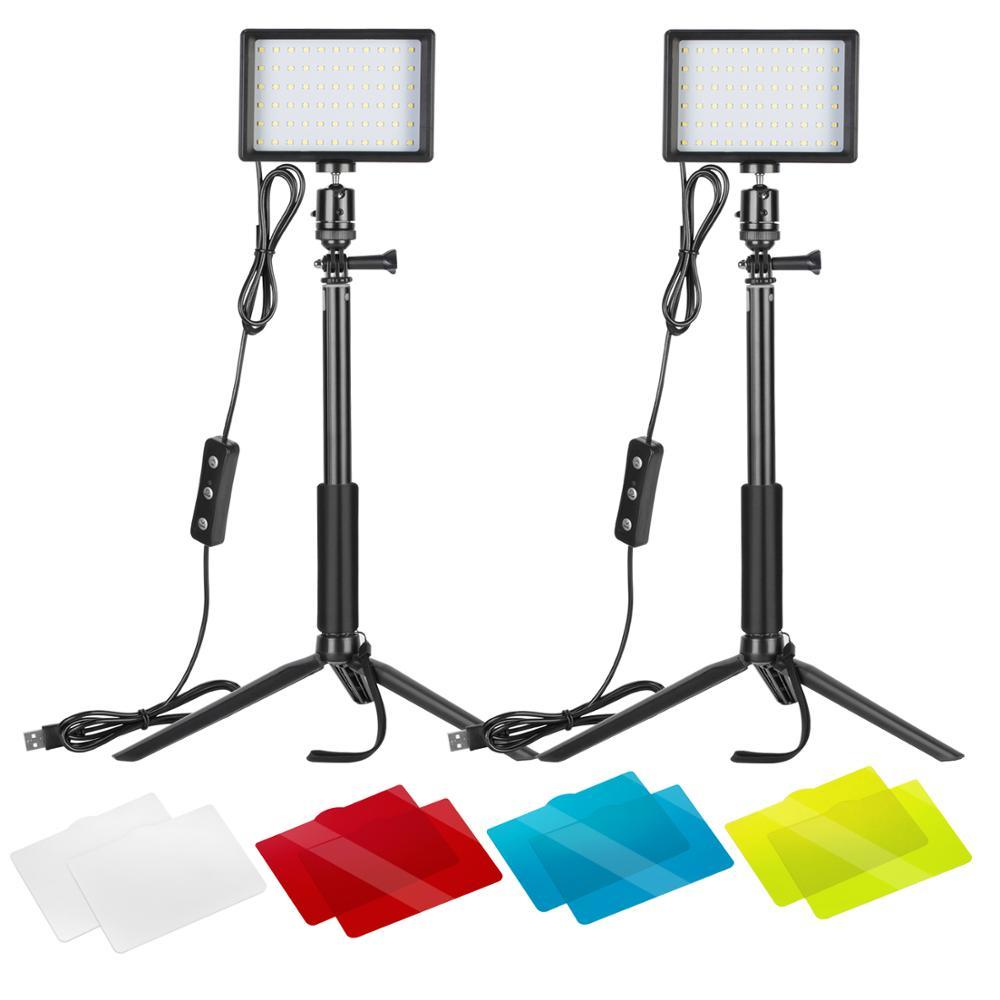 Neewer 2 paquets Dimmable 5600K USB LED lumière vidéo avec trépied réglable/filtres de couleur pour la prise de vue sur table/Angle bas