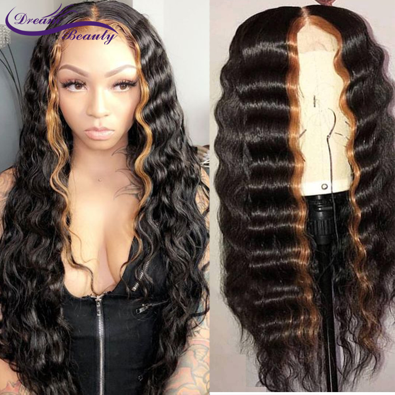 Highlight Color Lace Front Human Hair Wigs 150 Density Brazilian Remy hair Wavy Glueless Lace Wigs