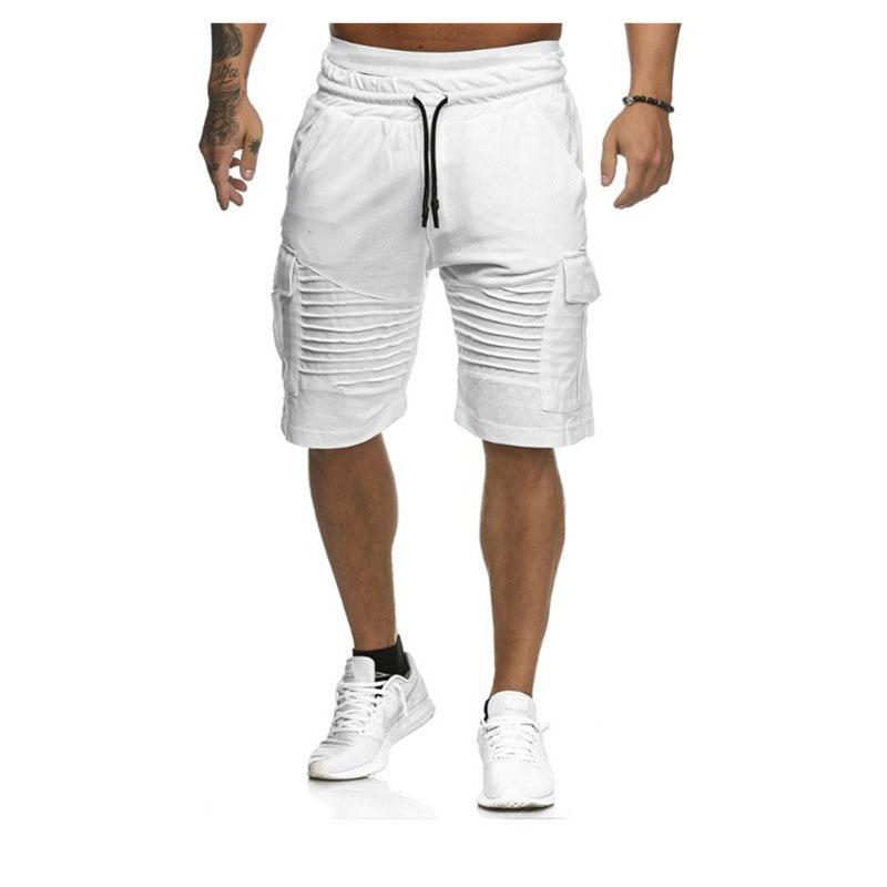 Men's Summer Short For Fitness Shorts Men Black/White/Fold/Pocket Sports Shorts Causal Bodybuilding Men Clothing