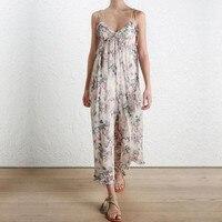 100% шелк без рукавов с цветочным принтом в богемном стиле рюшами женские широкие брюки комбинезон