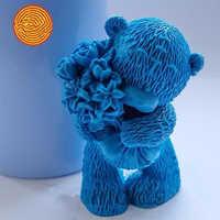 Moldes para manualidades Diy oso de peluche con flores moldes de silicona 3d para artesanías y fabricación de jabón