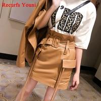 RYS9313 New Spring Women High Waist Belt Pocket Tassel Genuine Leather Skirts Female Mini Sexy Saia Camel Green Short Jupe