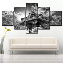 Modern home decor black and white French tower art poster HD print on canvas 5 pieces canvas painting for living room wall art 2pic set paris city landmarks and cars modern painting hd prints on canvas wall art for living room canvas printings home decor
