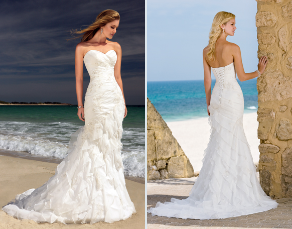 Sexy Beach Wedding Dresses Sweetheart Chiffon Beaded