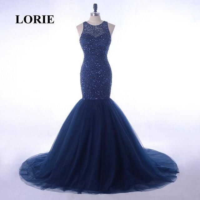 Lorie Navy Blue Evening Dresses Luxury Beaded O Neck Mermaid Tulle