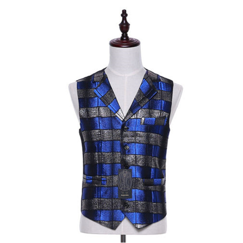 New plaid fabric blue lapel sleeveless vest five buttons tailored tailor-made two-pocket ...