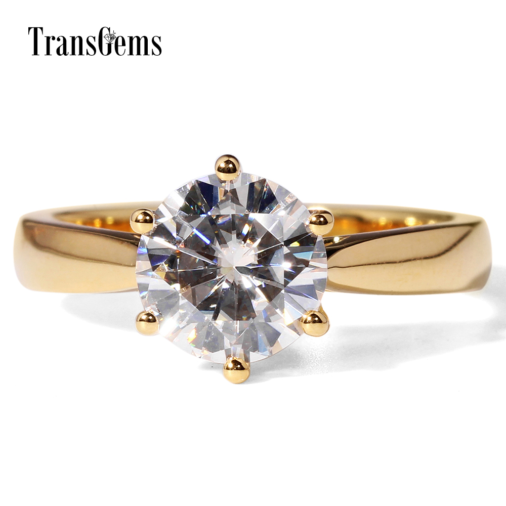 Solitare золото Emagement кольцо 14 К желтого золота 2 карат Диаметр 8 мм F Цвет Муассанит шесть зубец желтого золота кольцо для Для женщин