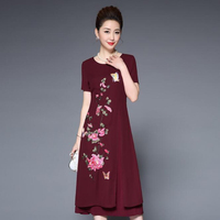 2018 Fashion New summer dress,Plus sizes mom dress Elegant women dresses Free shipping JS8068