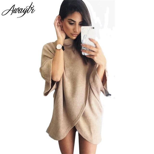 Awaytr Largo Foso para Las Mujeres Primavera AutumnWomens Capes Ponchos Moda Bat Manga de Cuello Alto Vestido de Abrigo prendas de Vestir Exteriores de Las Mujeres