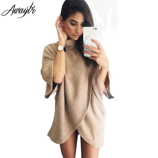 Awaytr Long Trench Coat for Women Spring AutumnWomens Capes Ponchoes Fashion Bat Sleeved Turtleneck Dress Coat Outerwear Women
