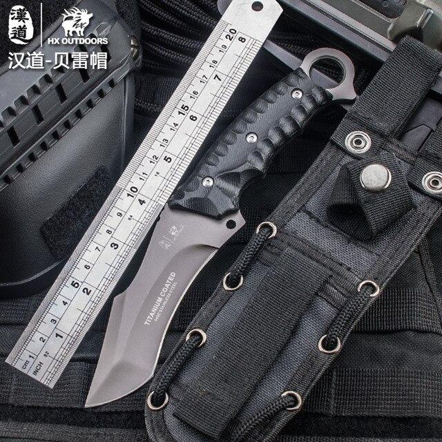 HX extérieur couteau tactique de haute qualité multi outil surface plaqué titane fixe couteau noir Camping outil survie chasse couteau