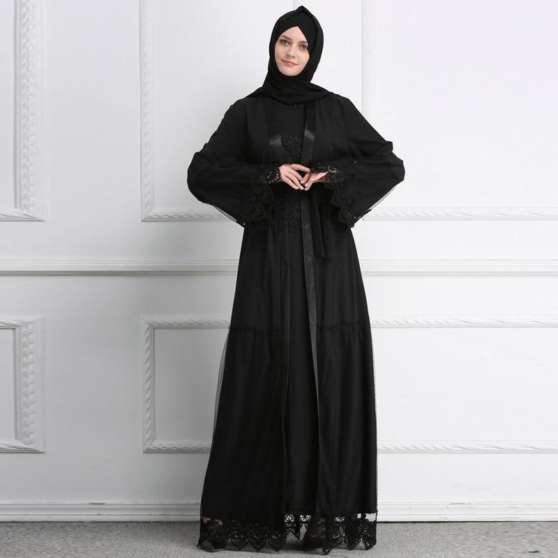 2019 Black Muslim Abaya Dubai Kaftan Lace Mesh Cardigan Hijab Dress Abayas For Women Jilbab Robe Caftan Turkish Islamic Clothing