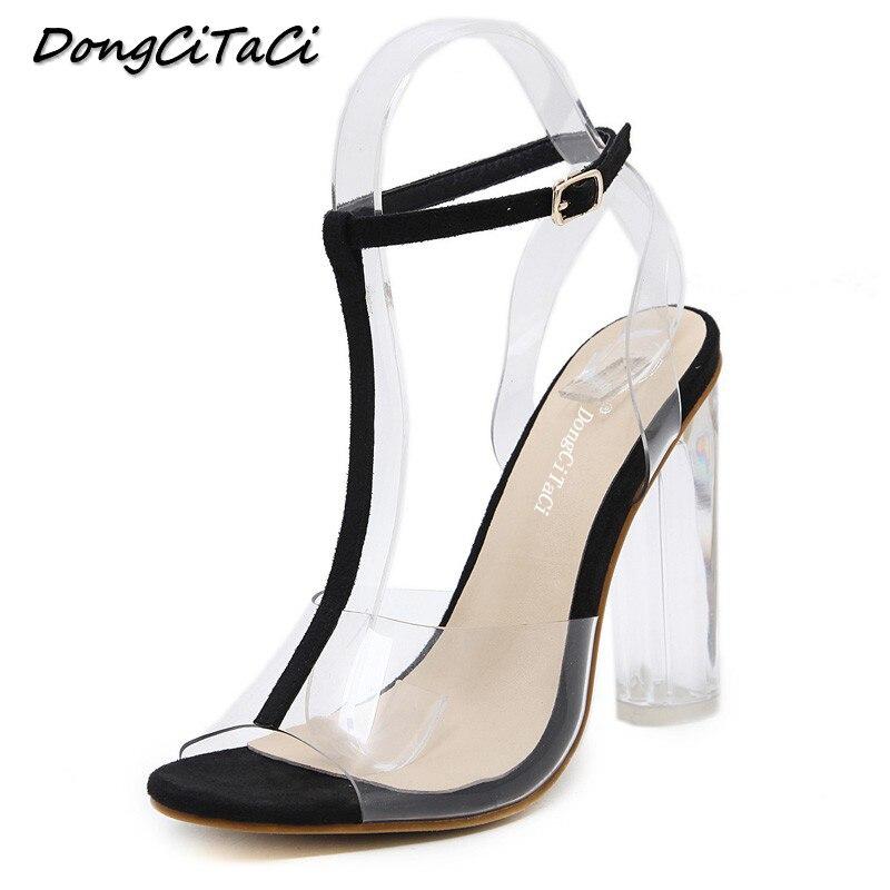 5dde06fa6c56 Offerte DongCiTaCi donne gladiatore sandali delle signore pompe degli alti  talloni scarpe da donna Trasparente Trasparente T strap partito abito da  sposa di ...