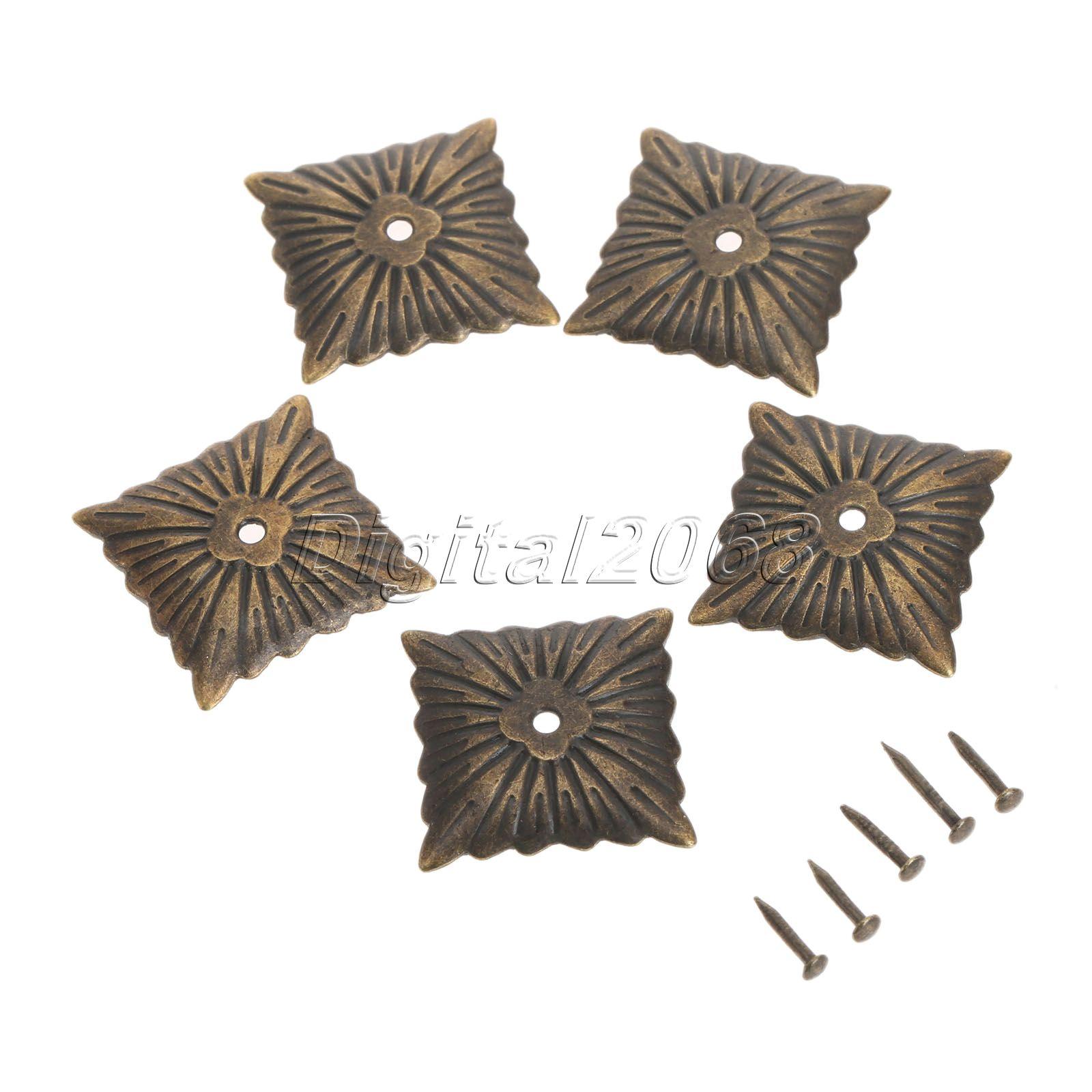 ⑤100Pcs Iron Bronze Antique Square Decorative Upholstery Nails Tack