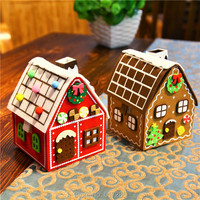 Free Shipping 2pcs Lot Gingerbread House Christmas House Felt Brown Red House Hot Sale Big Candy