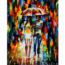 Hand Painted Abstract Landscape Under The Downpour Knife Modern Art Oil Painting Canvas Art Living Room hallway Artwork Fine Art
