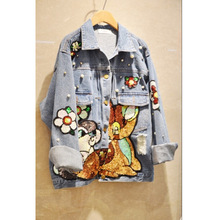 Plus Size Women Spring New Animal Sequin Beading Denim Jacket Female Long Sleeve Polo Collar Patch Design Hole Loose Denim Coats