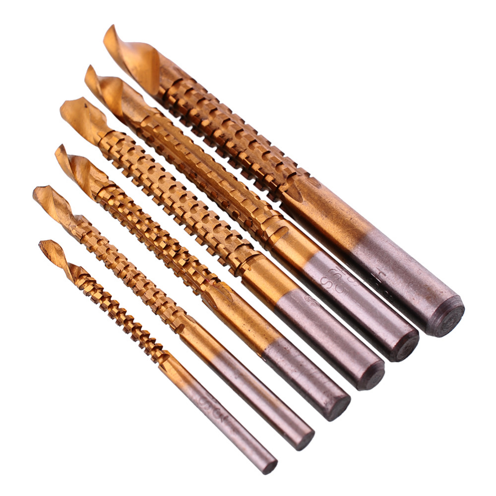 6PCS/Lot Drill Bits Titanium Coated HSS Drill & Saw Carpenter Woodworking Drilling Power Plastic Metal Hole Grooving Tools 99pcs mayitr hss drill bits set titanium coated woodworking drilling tools 1 5mm 10mm