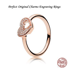 Фотография Perfect Original Chrams Engraving Shimmering Puzzle Heart Frame Ring silver 925 jewelry Rose & Clear CZ 186550CZ