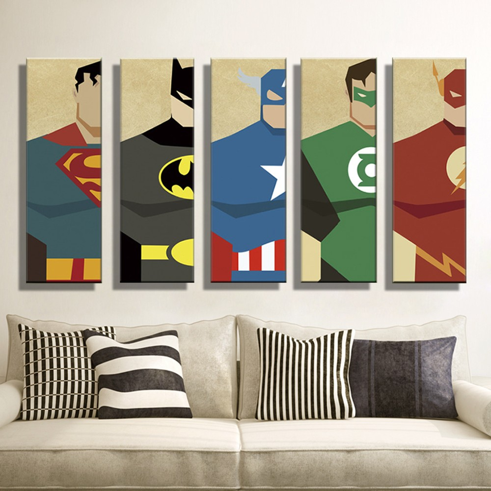 Oil Painting Canvas Super Hero Superman Batman Cartoon Modular Decoration Home Decor Modern Wall Pictures For Living Room