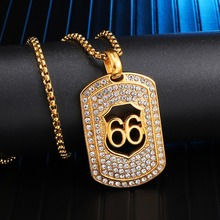 Full Iced Out Bling Stainless Steel Dog Tag 66 Pendants & Necklaces for Men HIP Hop Jewelry Dropshipping Gold Color