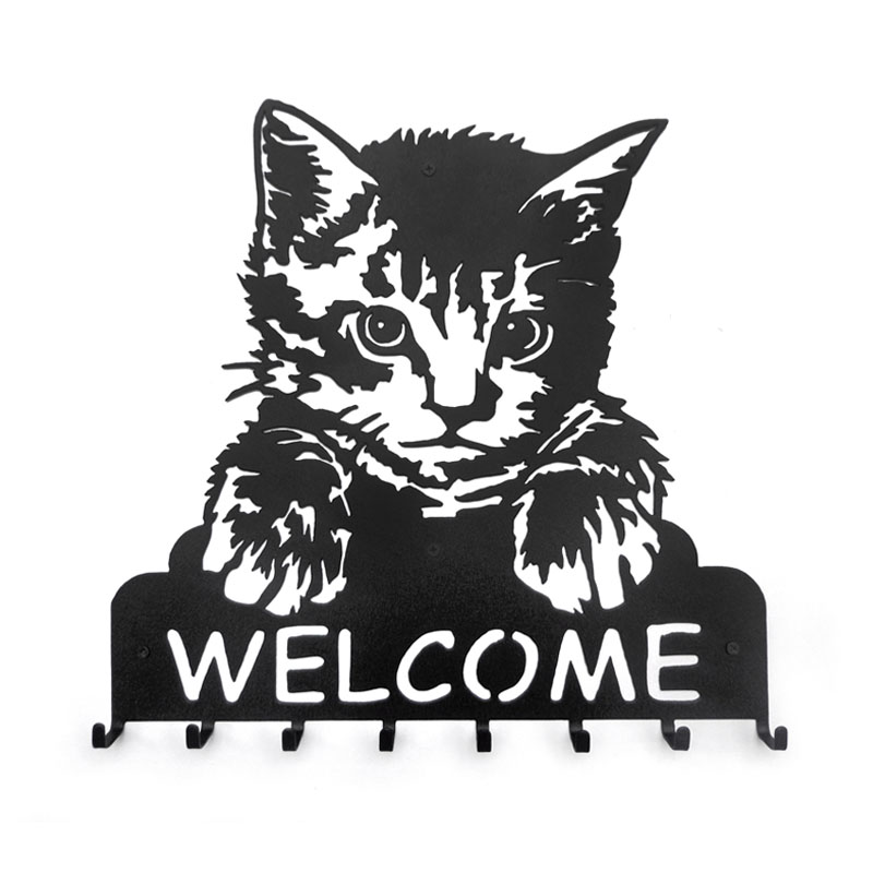 Meatl Iron decorative cat painting portrait key hook WELCOME cat welcome creative clothes wall hanger metal hook