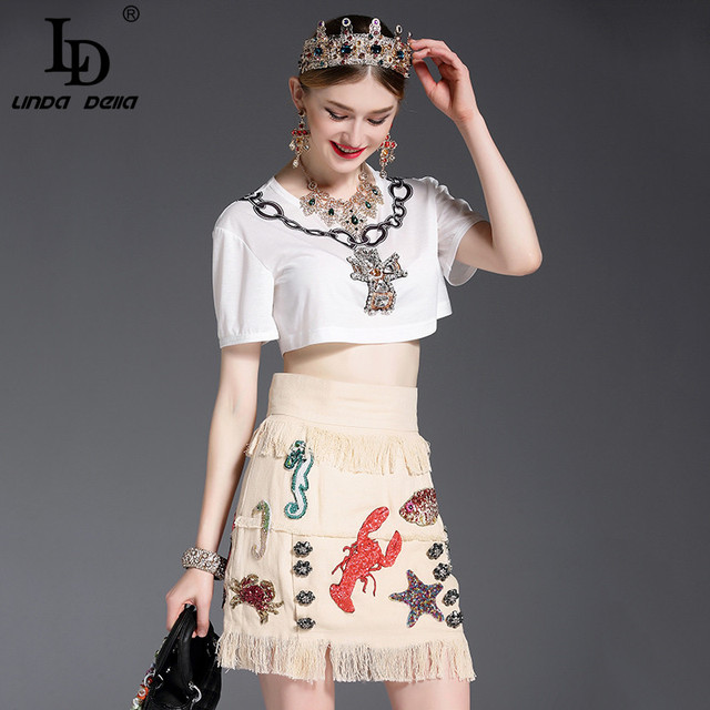 High Quality New 2017 Fashion Runway Suit Set Women's Summer New White Short Tops + Luxury Beading Tassel Casual Skirt Set